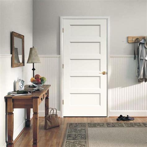 jeld wen conmore      primed  panel equal hollow core molded composite pre hung door