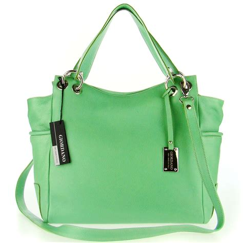 giordano italian  green leather large designer shopper