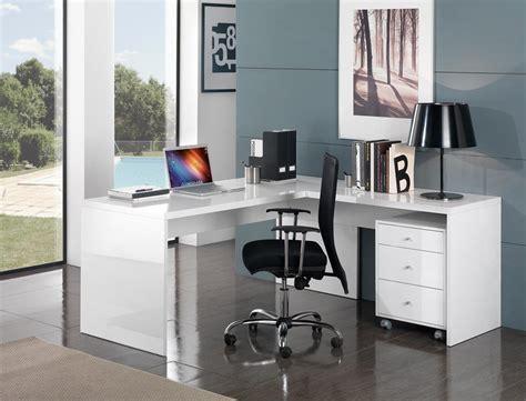 bureau de travail blanc bureau d 39 angle design avec caisson coloris blanc laqué