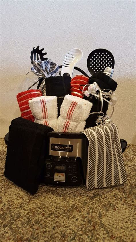 crockpot gift basket crock pot wine dish towels pasta