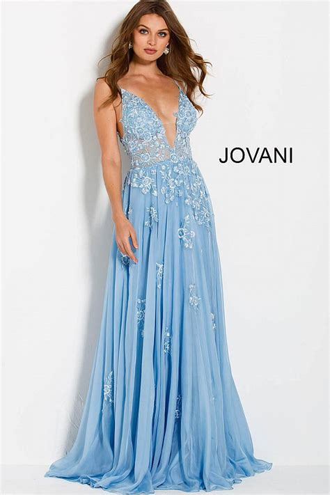 Prom Dresses Light Blue by Blue Flowy Embroidered Chiffon Spaghetti Straps Prom