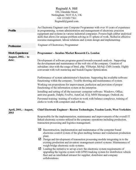 Written Resume Letters by Curriculum Vitae Exle