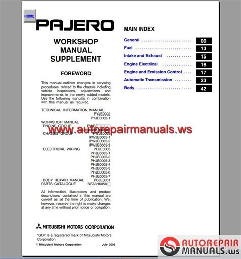 free online auto service manuals 1985 mitsubishi pajero transmission control mitsubishi pajero 2001 2006 service manual auto repair manual forum heavy equipment forums