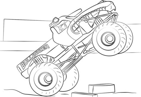 bulldozer monster truck kleurplaat gratis kleurplaten printen