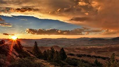 Sunset Desert Clouds Nature Valley Trees Panoramic