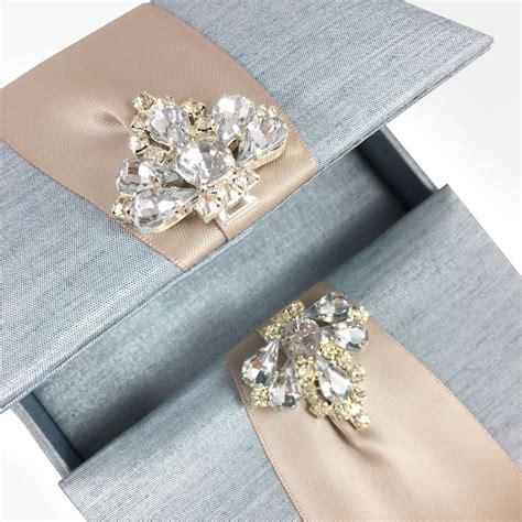 mystic blue custom invitation box  luxury diamond
