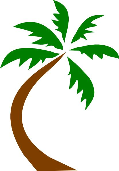 Clipart Palm Tree Palm Tree Curved Clip Clip At Clker Vector