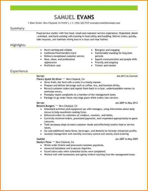 Describe Retail Experience On Resume by Cv Etudiant Fast Food