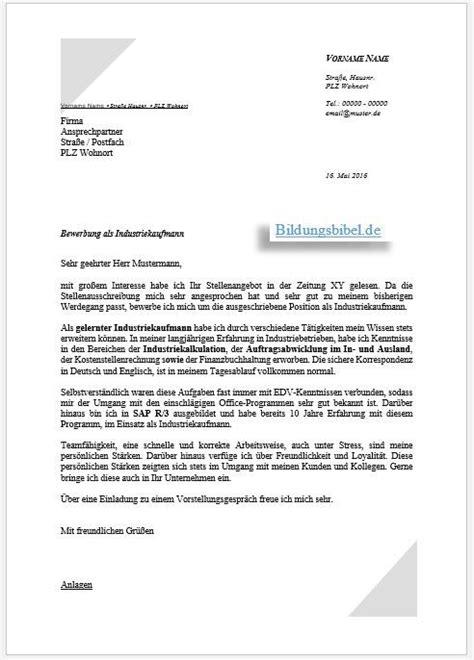 Bewerbung Englisch Vorlage by Bewerbung Industriekaufmann Industriekauffrau