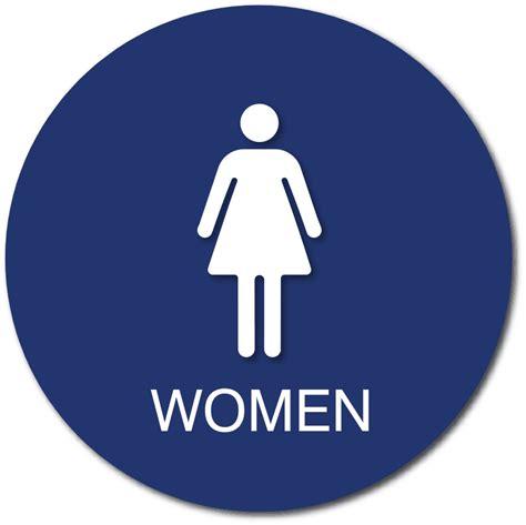 womens bathroom door sign  female gender symbol