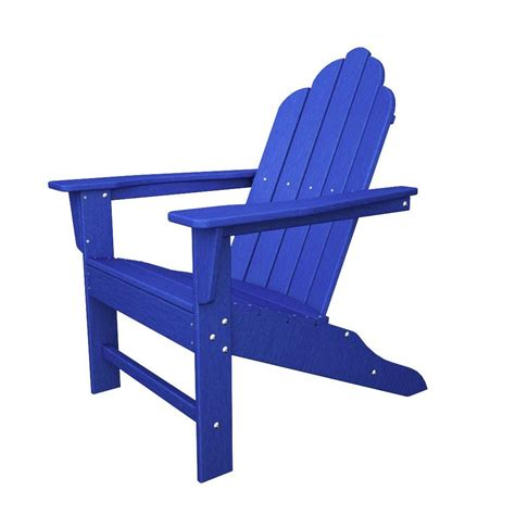 Polywood Long Island Pacific Blue Plastic Patio Adirondack