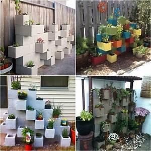 bloc beton pour la deco de jardin en 30 idees creatives With decaper un mur exterieur peint
