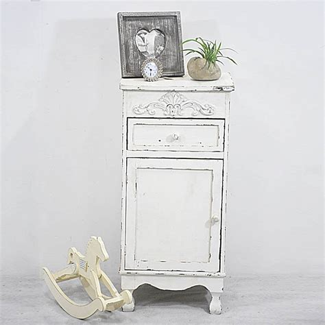 shabby french chic distressed rustic white wood nightstand buy product