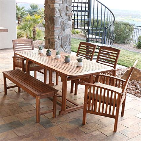 Patio Dining Chairs Set Of 6 by We Furniture Solid Acacia Wood 6 Patio Dining Set