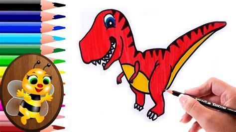 dibujando  pintando  dinosaurio animado dibujos  ninos   draw  paint