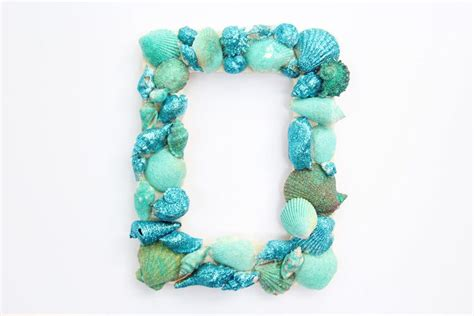 glitter sea shell picture frame   project