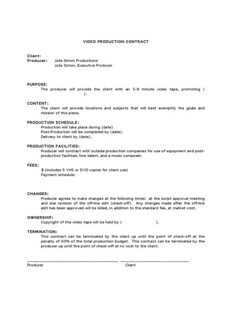 video production contract   templates   word