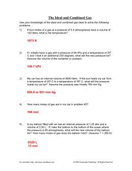 Unit 7 Gas Laws Review Sheet