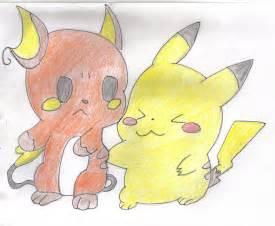 Cute Chibi Pikachu and Raichu