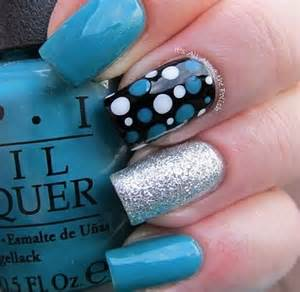 Blue and black nail designs images