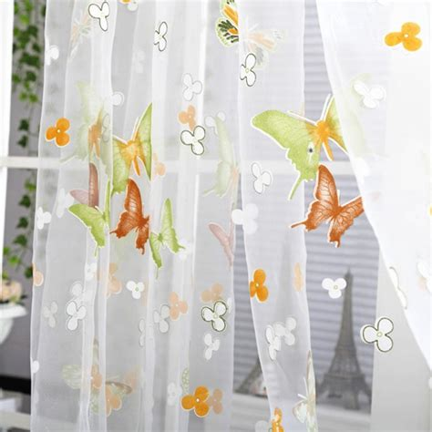 butterfly floral tulle voile window curtain balcony sheer