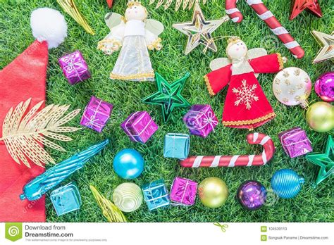 top view christmas decoration  green grass stock image