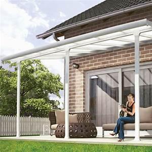 Pergola Toit Coulissant : pergola toit terrasse aluminium et polycarbonate 4x3 m blanc plantes et jardins ~ Melissatoandfro.com Idées de Décoration