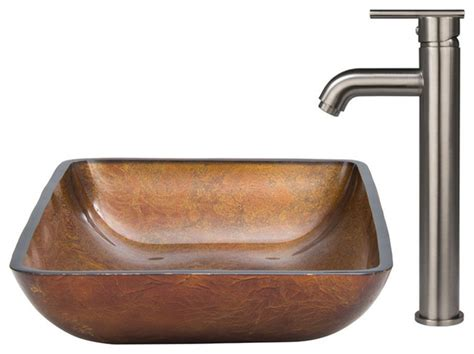 Vigo Rectangular Glass Vessel Sink And Faucet Set-modern