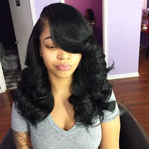 Sew In Hairstyle Ideas by Sew In 4 Bundles Leave Out