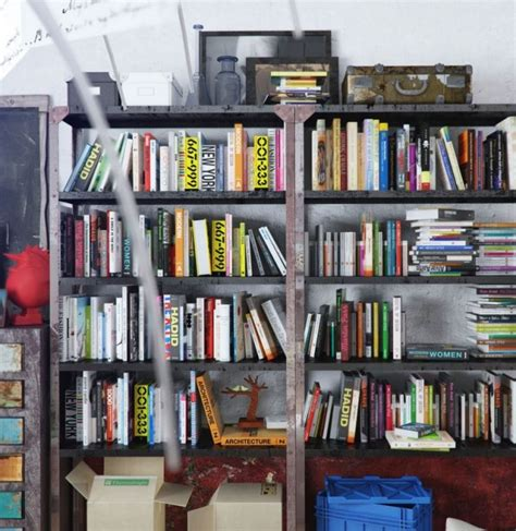 Colorful And Funky Interiors Visualized by Industrial Bookshelf 600x617 Jpg