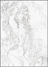 Coloring Poison Ivy Adult Fairy Drawings Line sketch template