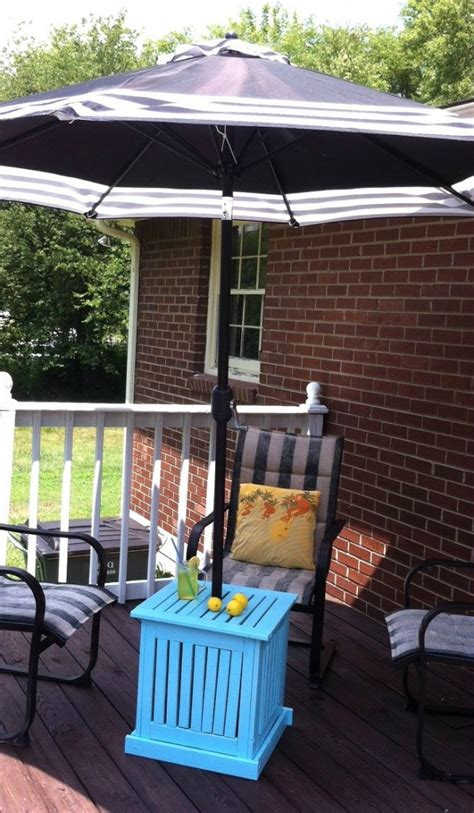 diy patio umbrella stand side table in city