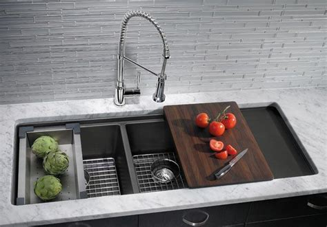 double bowl sink  sliding chopping board basket