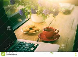 Cup, Of, Coffee, Cookies, And, Laptop, On, Wooden, Desk, Stock, Photo
