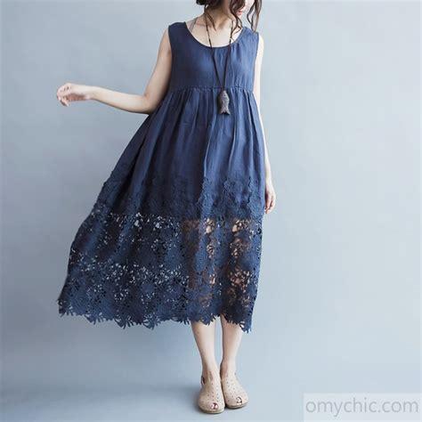 Cotton Dress Baby Blue blue linen dress plus size high waist