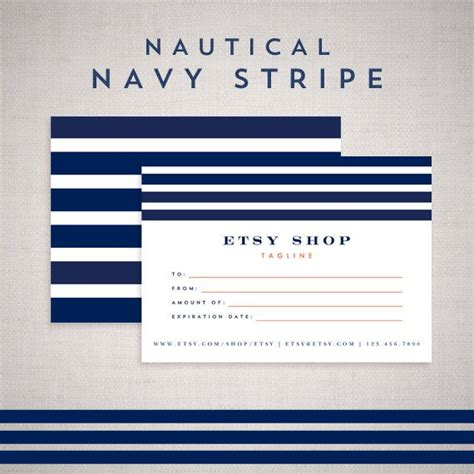 gift certificate template design  etsy shop nautical