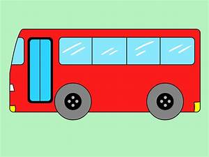 Drawn cartoon bus - Pencil and in color drawn cartoon bus