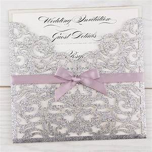 glitter ruby with bow pure invitation wedding invites With laser cut wedding invitations wholesale uk