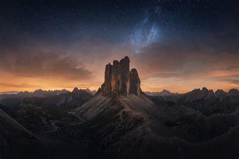Dolomites Tre Cime Di Lavaredo Milky Way Panorama