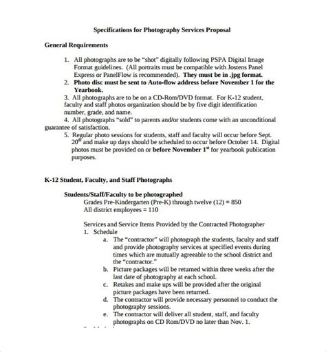 sample photography proposal template   documents