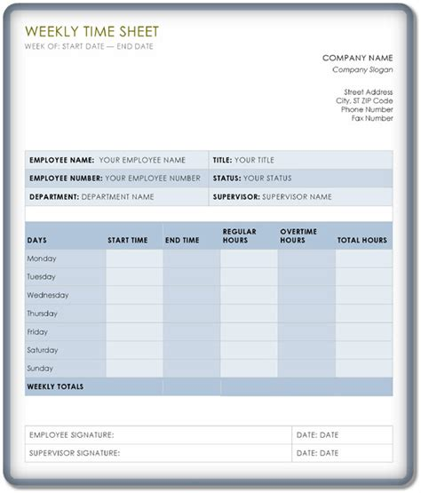 weekly timesheet template   templates  excel