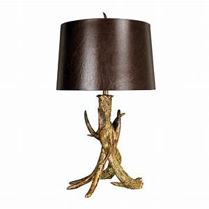 rustic ridge antler table lamp With antler floor lamp with faux leather shade