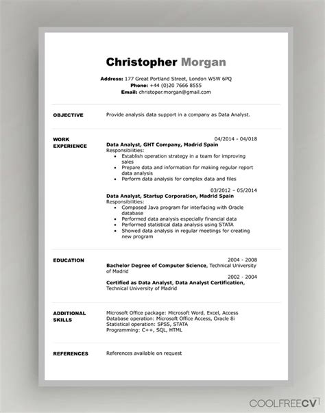 cv resume templates examples  word