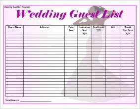 wedding checklist template sle wedding guest list template 15 free documents in word pdf excel