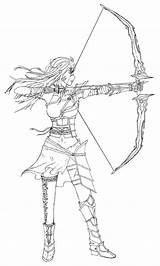 Archer Female Lineart Template Sketch Coloring Deviantart Templates sketch template