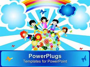 PowerPoint Template: a painting of four happy school kids ...