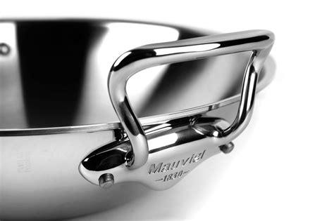 mauviel mcook stainless steel stir fry pan  lid rack  cutlery