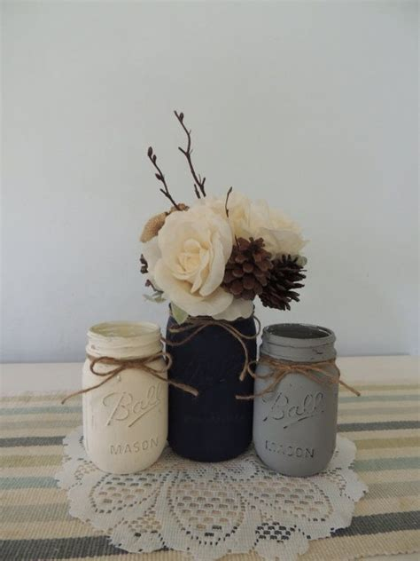 Navy Blue Flower Vases by White Navy Blue And Gray Painted Jars Vase
