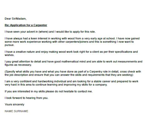 Carpentry Resume And Cover Letter Exles by Carpenter Cover Letter Exle Cover Letters And Cv Exles