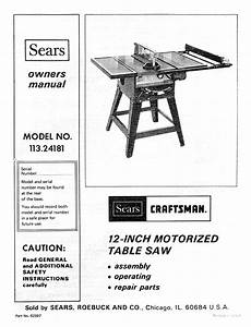 Craftsman 11324181 User Manual 12 In Motorized Table Saw